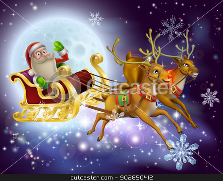 Santa Claus Sleigh Christmas Scene stock vector clipart, A Santa Claus sleigh Christmas scene of Santa Claus flying through the air on his sled being pulled by reindeer with snowflakes and full moon by Christos Georghiou