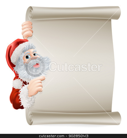 Santa Christmas Poster stock vector clipart, Santa Christmas poster of Santa cartoon character pointing sideways at a poster sign by Christos Georghiou