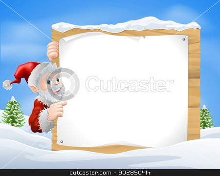 Santa Christmas Sign Snow scene  stock vector clipart, Santa Christmas sign in the centre of a winter snow scene with snow capped trees by Christos Georghiou