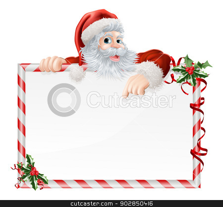 Santa Claus Cartoon Sign stock vector clipart, Santa Claus Cartoon Sign with Santa peeking over a sign that is decorated with Christmas Holly by Christos Georghiou
