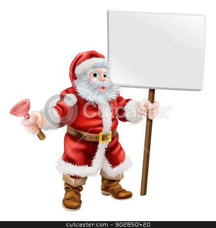 Santa holding plunger and sign stock vector clipart, Cartoon illustration of Santa holding a spanner and sign, great for mechanic, plumber or hardware shop Christmas sale or promotion by Christos Georghiou