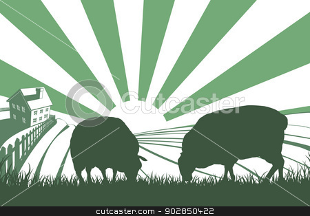 Sheep Farm Sunrise Landscape stock vector clipart, An idyllic farm landscape with farmhouse and sheep feeding on grass and sun rising over rolling hills by Christos Georghiou