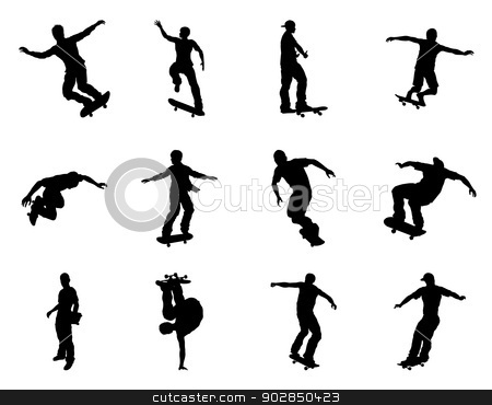 Skateboarder silhouettes stock vector clipart, Very high quality and highly detailed skating skateboarder silhouette outlines. Skateboarders performing lots of tricks on their boards. by Christos Georghiou