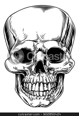 Vintage skull illustration stock vector clipart, A vintage human skull or grim reaper deaths head illustration  by Christos Georghiou