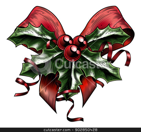 Vintage Woodcut Christmas Holly Bow stock vector clipart, A vintage Christmas holly sprig and berries red bow with ribbon in a woodblock, woodcut, etching or lithograph print style by Christos Georghiou
