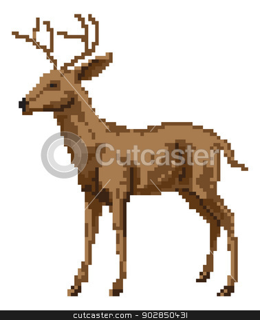 Pixel art deer illustration stock vector clipart, A pixel art style deer illustration of a buck or stag by Christos Georghiou