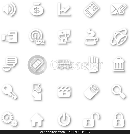 Icon Set White minimalist stock vector clipart, A white minimalist style cutout icon set with drop shadows for all your web and app needs by Christos Georghiou