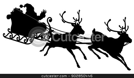Santa Sleigh Silhouette stock vector clipart, Santa Sleigh Silhouette illustration of Santa Claus in his sleigh flying through the sky being pulled by his reindeer  by Christos Georghiou