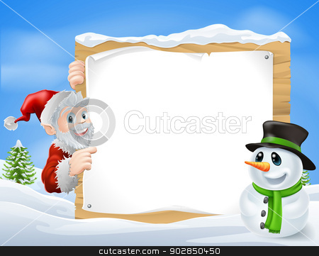 Santa Snowman Cartoon Sign  stock vector clipart, Santa and cartoon snowman sign with cute Santa and snowman characters in a winter snow scene  by Christos Georghiou