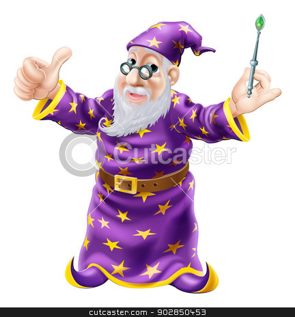 Wizard Illustration stock vector clipart, Illustration of a happy old wise wizard character holding a wand a doing a thumbs up gesture by Christos Georghiou