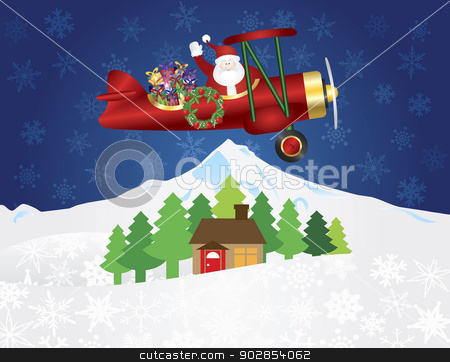 Santa Claus on Biplane with Presents on Night Snow Scene stock vector clipart, Santa Claus Waving on Biplane Delivering Wrapped Presents Flying Over Winter Snow Scene at Night Background Illustration by Jit Lim
