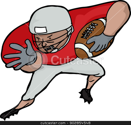 American Football Player Charging stock vector clipart, Isolated American football player running over white background by Eric Basir