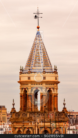 Ceramic Bell Tower Church Andalusia Seville Spain stock photo, Ceramic Bell Tower Cross Church Sevill, Andalusia Spain. by William Perry