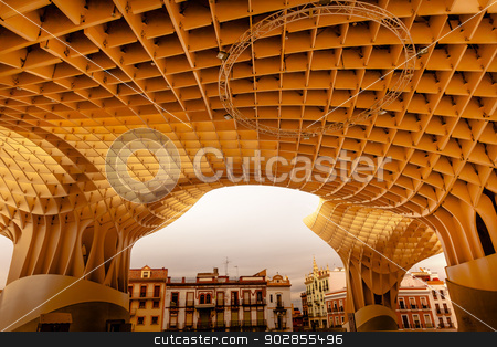 The Mushrooms Metropol Parasol Seville Andalusia Spain stock photo, The Mushrooms Metropol Parasol Seville Andalusia Spain.  World's largest wooden structure.  Completed in 2011 designed by Jurgen Mayer-Hermann. by William Perry