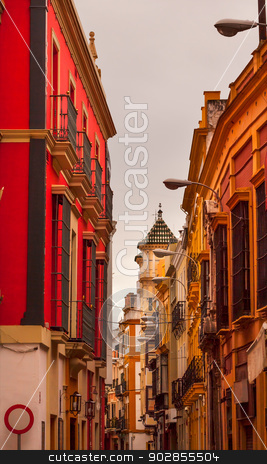 Narrow Streets of Seville Spain City View  stock photo, Narrow Streets of Seville, Street Lamp Cityscape, City View Andalusia Spain.     by William Perry