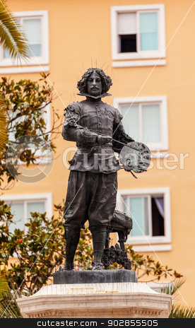 Velaquez Painter Statue Triana Seville Andalusia Spain stock photo, Velaquez Painter Statue by Antonio Susillo Seville Andalusia Spain. Statue installed in 1895. Velaquez is one of the most famous painters in Spain and was born in Seville. by William Perry