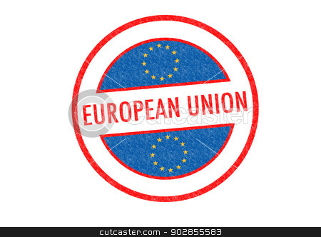 EUROPEAN UNION stock photo, Passport-style EUROPEAN UNION rubber stamp over a white background. by Chris Dorney