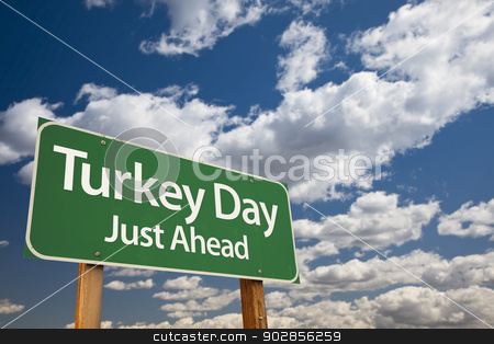 Turkey Day Green Road Sign and Clouds stock photo, Turkey Day Green Road Sign with Dramatic Clouds and Sky. by Andy Dean