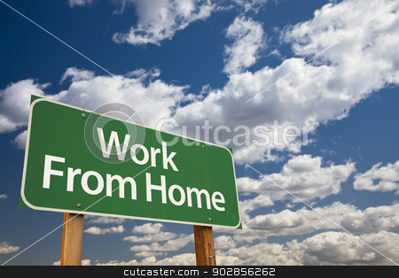 Work From Home Green Road Sign and Clouds stock photo, Work From Home Green Road Sign with Dramatic Clouds and Sky. by Andy Dean