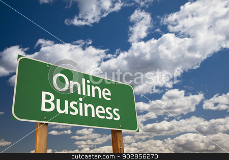 Online Business Green Road Sign and Clouds stock photo, Online Business Green Road Sign with Dramatic Clouds and Sky. by Andy Dean