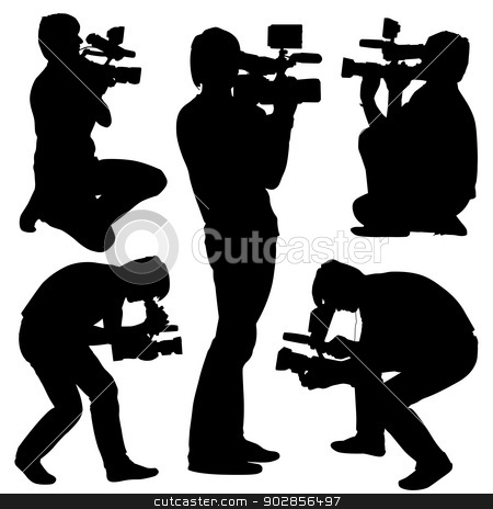 Cameraman with video camera. Silhouettes on white background. Ve stock vector clipart, Cameraman with video camera. Silhouettes on white background. Vector illustration. by aarrows