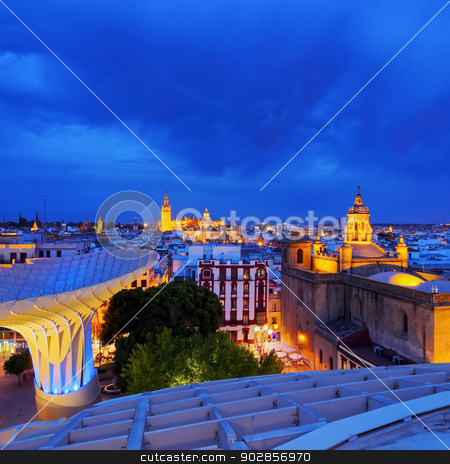 Seville Cityscape, Spain stock photo, Night view of Seville from Metropol Parasol on La Encarnacion Square, Andalusia, Spain by Karol Kozlowski
