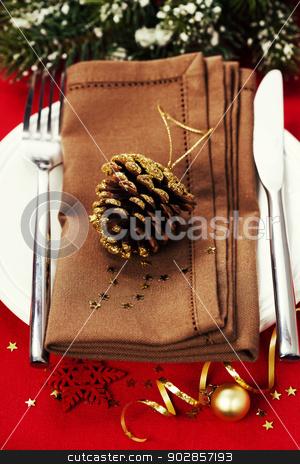 Christmas table place setting stock photo, Christmas table place setting with christmas decorations by klenova
