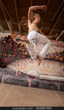 Capoeira Performer Jumping stock photo, Single capoeira performer leaping in mid air by Scott Griessel