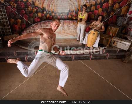Capoeira Martial Arts and Music stock photo, Capoeira group performing martial arts and music by Scott Griessel