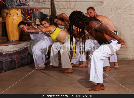 Capoeira Teacher Leading Group stock photo, Group of capoeira students with master teacher by Scott Griessel
