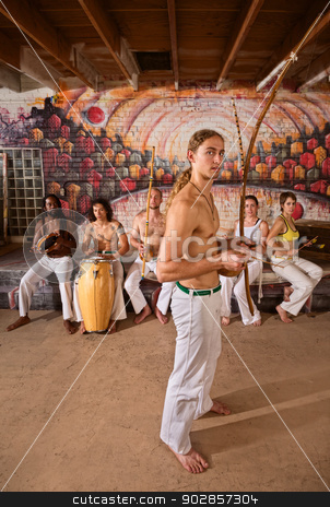 Capoeira Performers Together stock photo, Group of 6 traditional Capoeira performers in urban building by Scott Griessel