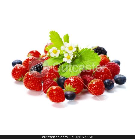 fresh berries stock photo, fresh berries isolated on white background by klenova