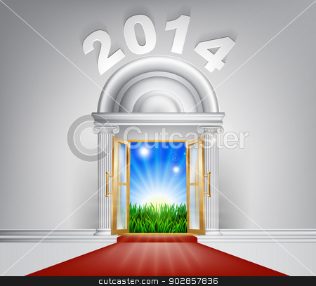 New Year New Dawn Door 2014 stock vector clipart, A conceptual illustration of a New Year 2014 door entrance opening onto a field of lush green grass. Concept for a happy future, or hope for it. by Christos Georghiou