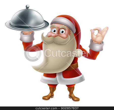 Santa Cooking Christmas Food  stock vector clipart, Santa Claus character cooking Christmas dinner food. Cartoon Santa in an holding a silver food platter and doing a perfect gesture by Christos Georghiou