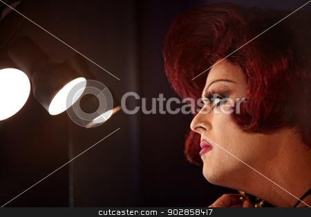 Drag Queen in Lights stock photo, Big beautiful Caucasian drag queen with lights by Scott Griessel