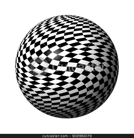 Chessboard Globe stock photo, Abstract black and white chessboard globe on white background. by Henrik Lehnerer