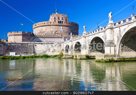 Saint Angel castle stock photo, Famous Saint Angel castle and bridge over Tiber river in Rome, Italy by Alexey Popov