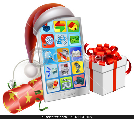 Christmas phone illustration stock vector clipart, A mobile phone wearing a Santa hat with Christmas bauble, cracker and gift by Christos Georghiou
