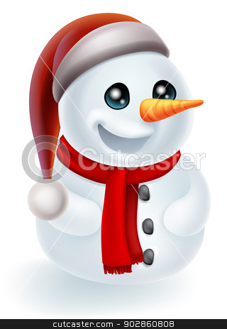 Christmas Snowman in Santa Hat stock vector clipart, Illustration of a cartoon Christmas Snowman in a Santa Hat and red scarf by Christos Georghiou