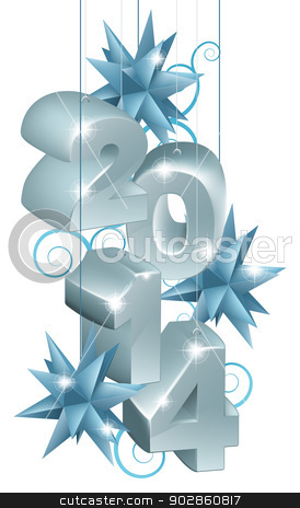 Silver New Year or Christmas 2014 Decorations stock vector clipart, Design element illustration of silver New Year or Christmas 2014 Decorations or tree ornaments with star shaped baubles and scroll shaped pattern  by Christos Georghiou