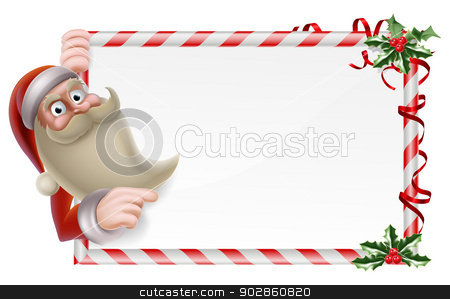 Santa Christmas Sign stock vector clipart, A Santa Christmas sign illustration of a cute cartoon Santa holding a banner and pointing by Christos Georghiou