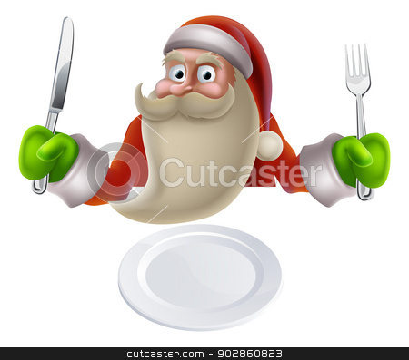 Santa Eating Christmas Dinner Food stock vector clipart, Santa eating Christmas dinner, cartoon Santa sat down with a knife and fork ready for dinner to be put on his plate by Christos Georghiou