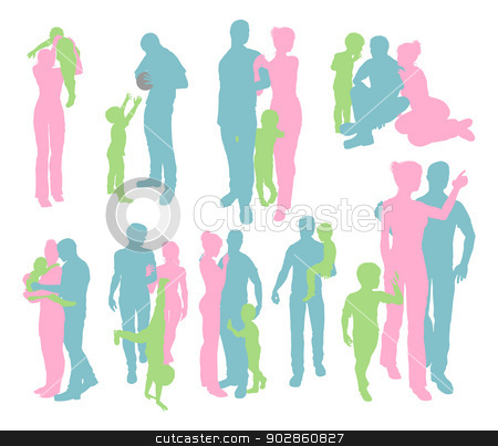 Silhouettes of a Happy Family stock vector clipart, High quality and very detailed silhouettes of a young happy family, mother and father and child, in various poses  by Christos Georghiou