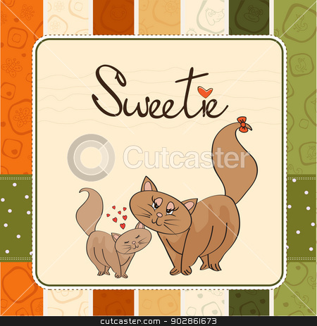 new baby kitten with his mother stock vector clipart, new baby kitten with his mother, vector illustration by balasoiu
