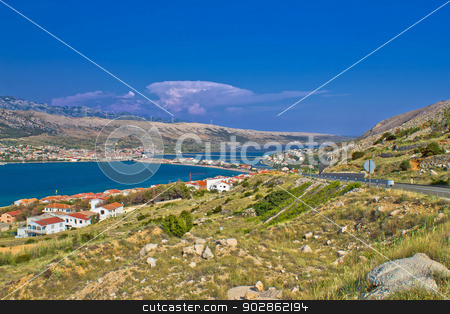 Island of Pag aerial bay view stock photo, Island of Pag aerial bay colorful view, Dalmatia, Croatia by xbrchx
