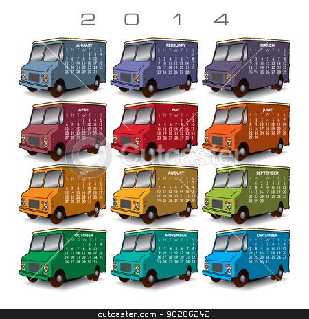 2014 Creative Truck Calendar  stock vector clipart, 2014 Creative Truck Calendar for Print or Website by Mike Monahan