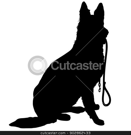 Shepherd with Leash stock vector clipart, Silhouette of a German Shepherd holding a leash and ready to go for a walk by Maria Bell