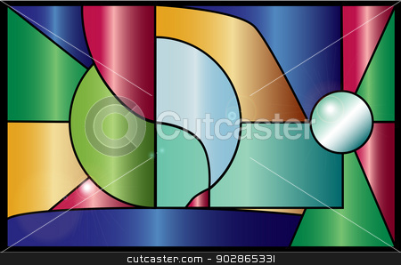 Stained Glass stock vector clipart, Modern style stained glass window with reflections. by Kotto