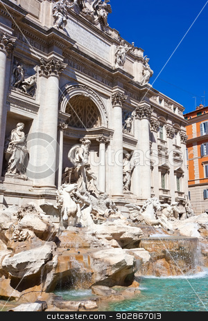 Fountain di Trevi stock photo, Fountain di Trevi - most famous fountain in Rome, Italy by Alexey Popov