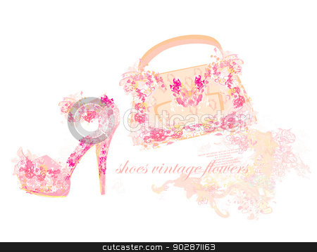 Beautiful Floral Female Shoes And Bags Stock Vector